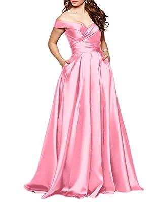 BEAUTBRIDE Women's Off Shoulder Long Prom Dress Formal Gown With Pocket BEPMD02