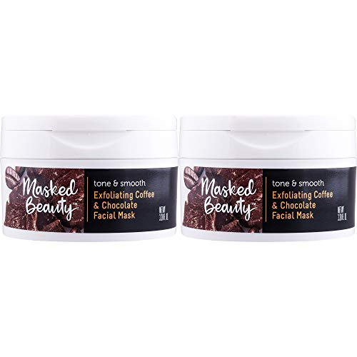Masked Beauty Exfoliating Coffee and Dark Chocolate Rinse Off Facial Mask for Smoothing and Exfoliating Skin, 2 Count ()