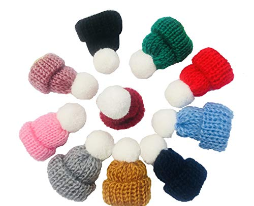 10 Pieces Mini Knitting Wool Yarn Hats for Miniature Work DIY Hair Accessories Crafts Cute Doll Hat Jewelry Making Phone Case DIY