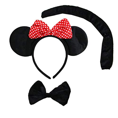 Kirei Sui Kids Mouse Headband Tie Tail 3pcs Costume ()