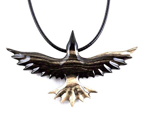 Soaring Raven Pendant Necklace Crow Bird Jewelry Hand Carved in Black and White ()