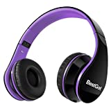 BestGot Headphones Over Ear Kids Headphones with Microphone Volume Control Lightweight Noise Isolating Headsets with Detachable 3.5mm Cable for Apple Android Smartphone Tablets Laptop (Black/Purple)
