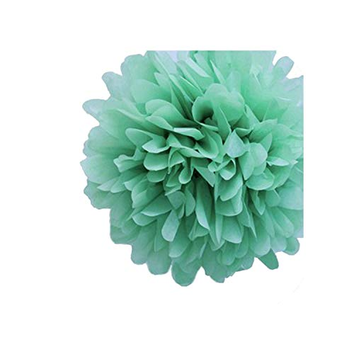 ZongCheng artifical flowers 5PCs Party Supplies Room Car DIY Craft Pompon Tissue,Mint Green,8inch 20cm]()