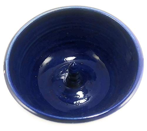 - Aunt Chris' Pottery - Navy Blue - Apple Baker - Hand Made Clay - Microwave, Oven & Dishwasher Safe - Fast Baking Spike In The Center - Also Makes A Great Ring Dish!