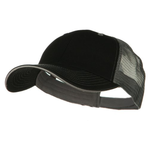Big Size Garment Washed Cotton Twill Mesh Cap - Black Grey (For Big Head)