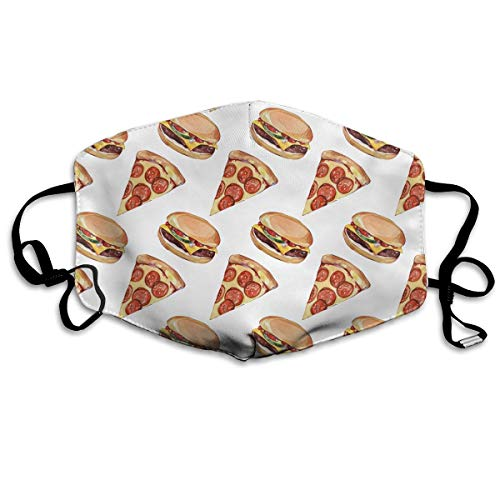 Mouth Mask Pizza&Burger Pattern Earloop Face Masks - Adjustable Elastic Strap for Ski Cycling, Anti Smog Dustproof Respirator, Half Face Mouth Mask/Cover