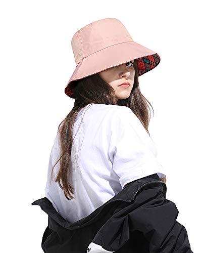 DOCILA Womens Cute Pink Bucket Hat Collasible Summer Floppy Wide Brim Sun Cap]()