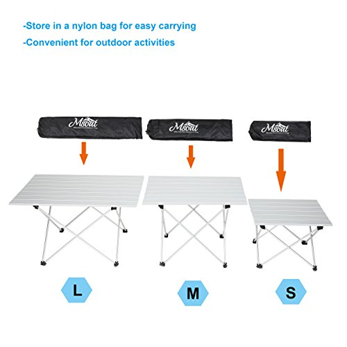 Folding Camping Collapsible Table Aluminum Foldable Portable Compact Ultralight Roll up Small Medium Large Size for Hiking Travel Outdoor Picnic BBQ Beach Garden