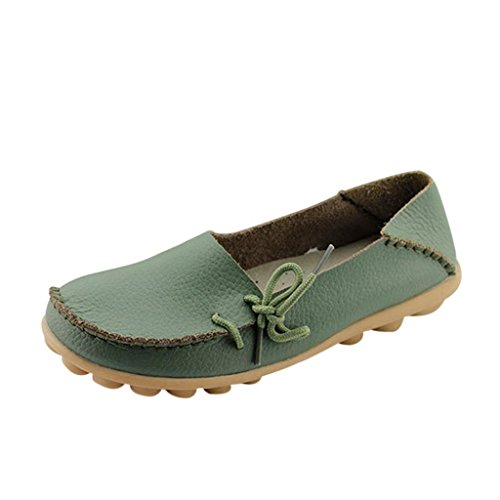 Women's Driving Shoes Cowhide Casual Lace-Up Loafers Boat Shoes Flats Army Green