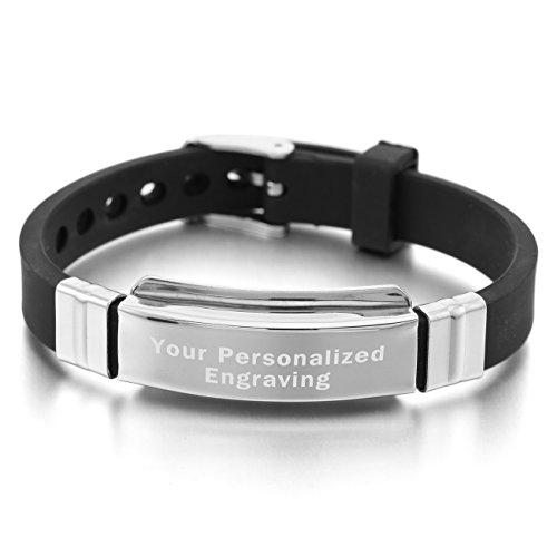 MeMeDIY Silver Tone Black Stainless Steel Rubber Bracelet Bangle - Customized Engraving