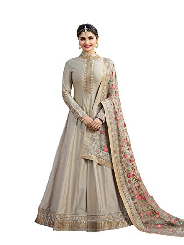 Pakistani Fashion Designers - New Indian/Pakistani Designer Georgette Party Wear Anarkali Suit Maisa (Grey, SMALL-38)