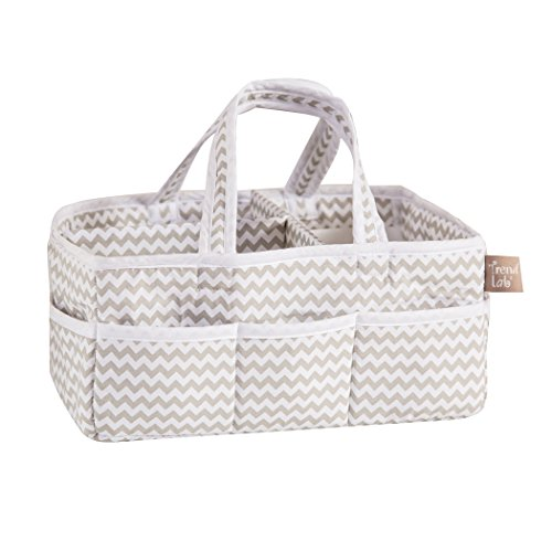 Trend-Lab-Dove-Gray-Chevron-Storage-Caddy-White