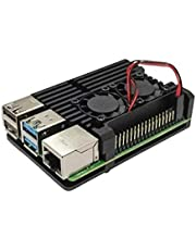 Aluminum Case Model B for Raspberry Pi 4 with Dual Cooling Fan & Hex Wrench, Metal Enclosure Shell Box for RPI 4B