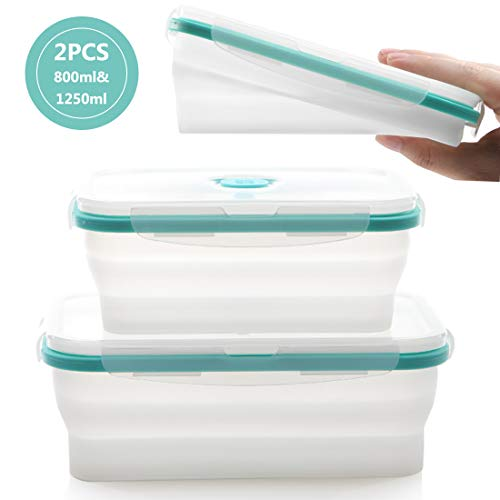 - fancyfree Silicone Collapsible Lunch Box, leakproof Benton Containers,Microwave Oven Available,Folding Bowl Set With Leakproof Lid,2 Packs (Blue Transparent)