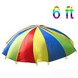TOPTIK 6-Feet diameter Parachute for Kids with 8 Handles Play Parachute for Kids Play Tent Cooperative Games Birthday Gift