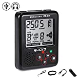JOYO® Mini Metronome Clear Loud Sound Auto-off Tone Generator with USB Rechargeable Battery and 4 Accessories for Guitar Ukulele Violin Piano Drum etc (Black)