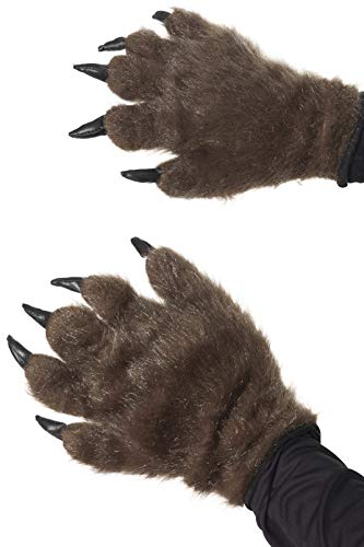 Smiffys Adult Unisex Hairy Monster Hands, Brown, One Size, -