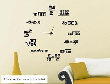 Adhesivo para pared de reloj con matemáticas, negro, Small: 45cm x
