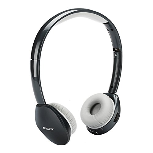 PISEN Bluetooth Headphones Over Ear, Pisen LH100 Wireless Noise-cancelling Hi-fi Earphone, Adjustable Wired Earphone with Microphone, Foldable Gaming Stereo Headset for iPhone 7, Samsung S8 and (Adjustable Overhead Headphones)