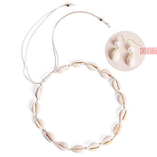 WEHVKEI Womens Natural Shell Choker Necklace, Shell Earrings, 14 inch Handmade Cowrie Shell Boho Beach Jewelry Adjustable Necklaces,16 Pcs Shell Summer Beach Bohemia Jewelry Set -2Pack