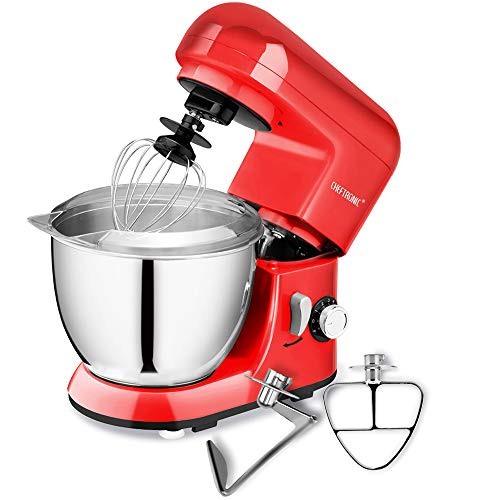 CHEFTRONIC Stand Mixers Tilt-head Mixers Kitchen Electric Dough Mixer for Household Aids 120V/350W 4.2qt Stainless Steel Bowl (Best Dough Mixer For Roti)