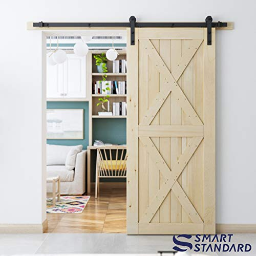 SmartStandard 36in x 84in Sliding Barn Wood Door Pre-Drilled Ready to Assemble, DIY Unfinished Solid Cypress Wood Panelled Slab, Interior Single Door Only, Natural, 2X-Frame (Fit 6FT-6.6FT Rail)