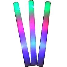 "Taotuo 15 PCS 19"" LED Light-Up Foam Sticks Rally Rave Cheer Tube Soft Glow Baton Wands"