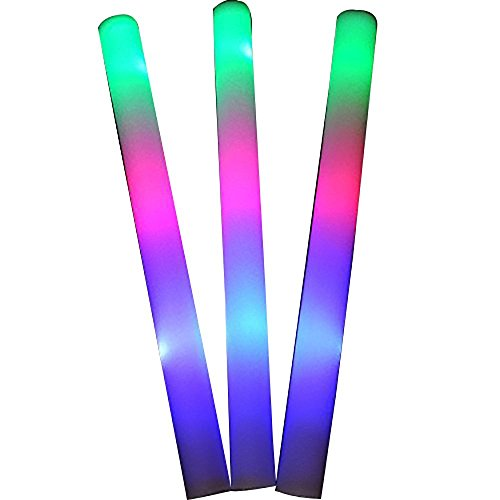 50 Pack of 18 Multi Color Foam Baton LED Light Sticks - Multicolor Color Changing Rally Foam 3 Model Flashing ()