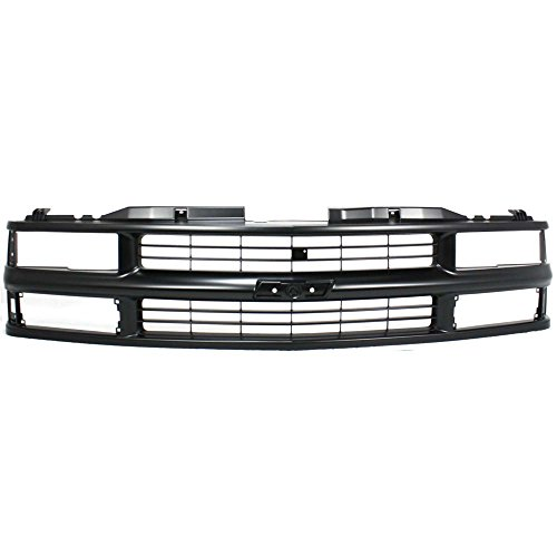 Grille compatible with Chevrolet C/K Full Size P/U 94-00/Suburban 94-99 Cross Bar Insert Painted-Black W/Dual/Composite Headlight