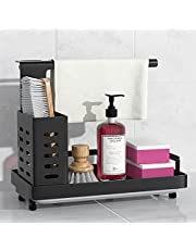 Sink Caddy Sponge Holder Brush Soap Dishcloth Holder with Drain Pan Stainless Steel Caddy Organizer for Kitchen, Freestanding or Wall-Mounted (Black)