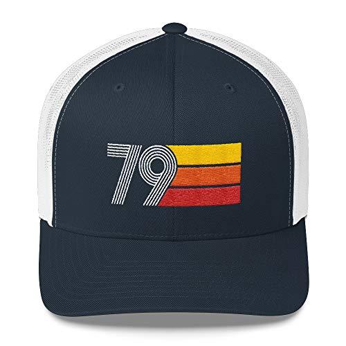 (40th Birthday Hat Men Women Vintage 1979 Retro Trucker Cap Navy/White)
