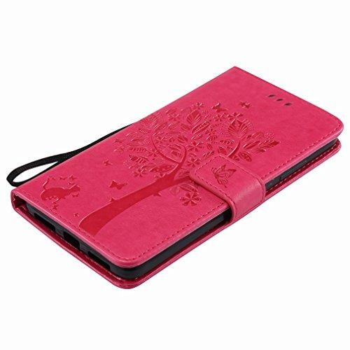 Yiizy Huawei Mate 9 Custodia Cover, Alberi Disegno Design Sottile Flip Portafoglio PU Pelle Cuoio Copertura Shell Case Slot Schede Cavalletto Stile Libro Bumper Protettivo Borsa (Red Rose)