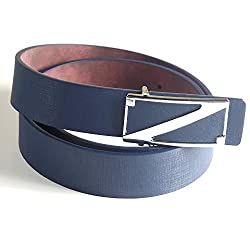 Fashionable Blue Belt with Silver Z Buckle (31 - 33, Blue)