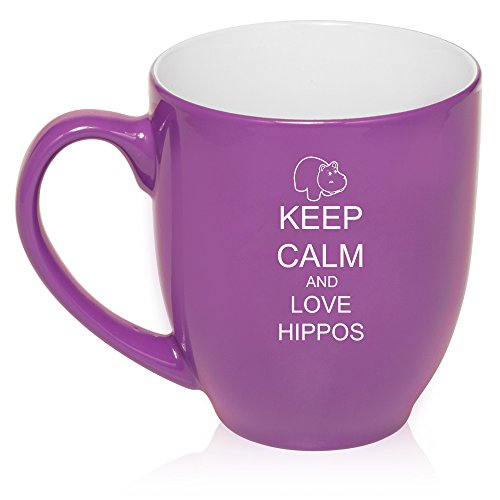 (16 oz Purple Large Bistro Mug Ceramic Coffee Tea Glass Cup Keep Calm and Love Hippos)