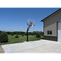 "Pro Dunk Silver: In-ground Adjustable Basketball Goal Hoop with 54"" Glass Backboard System for Outdoor Basketball Courts"
