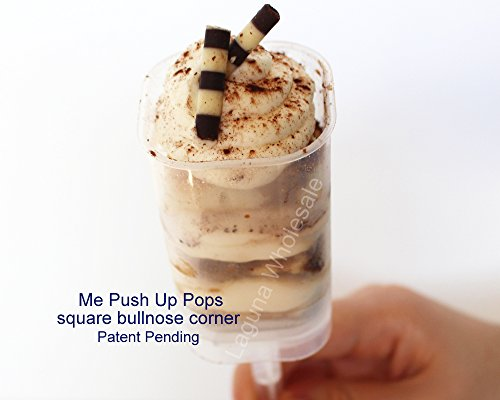SupaCute Desserts Square Push up Pop Containers 50 Ct with Twist in Stick and Base