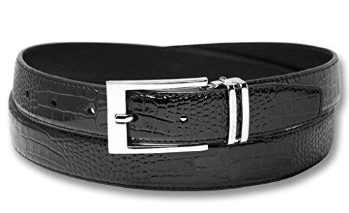 Biagio Croc Embossed BLACK Men's Bonded Leather Belt Silver-Tone Buckle sz 32
