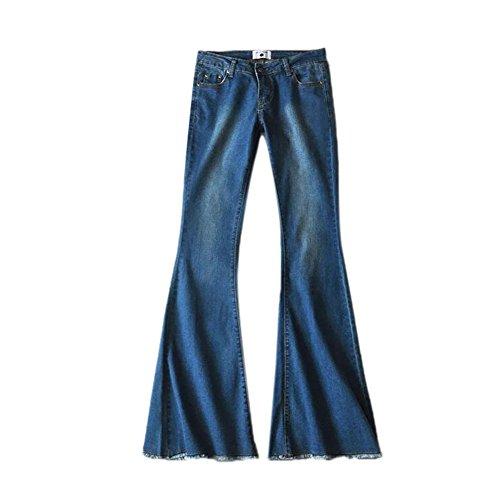 Keephen Pantalones de Mezclilla Vintage para Mujeres Pantalones de Cintura Elástica Suave Alta Pantalones Acampanados Delgados Azul Oscuro