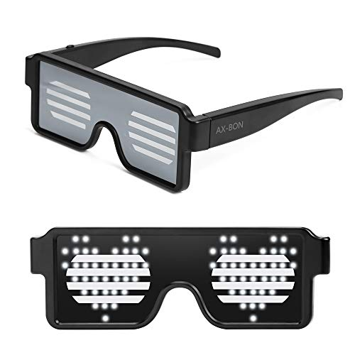 AX-BON LED Glasses,Rechargeable Toy Sunglasses can Work 8 Hours with 8 Animation Modes for Halloween Christmas and Various Parties(White) ()