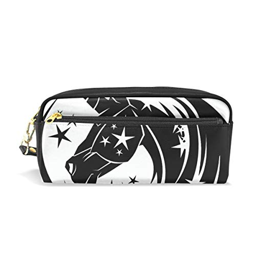 Unicorn Head Circle Tattoo with Stars School Pen Case Kids Pencil Holders Large Capacity Pouch Makeup Cosmetic Boxes Office Travel Bag (Checkbook Wallet Tattoo)