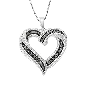JewelExclusive Sterling Silver 1/4cttw Natural Round-Cut Black Diamond (J-K Color, I2-I3 Clarity) Heart Pendant-Necklace,18
