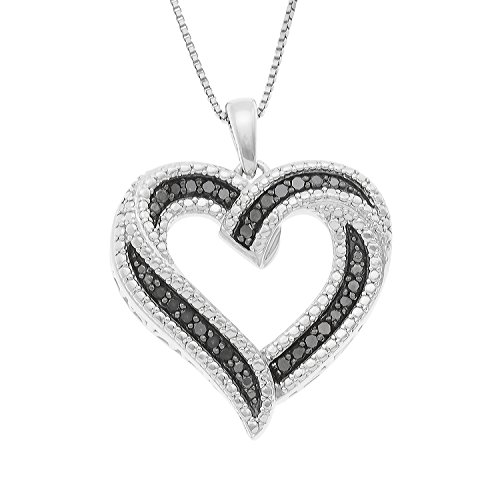 - JewelExclusive Sterling Silver 1/4cttw Natural Round-Cut Black Diamond (J-K Color, I2-I3 Clarity) Heart Pendant-Necklace,18