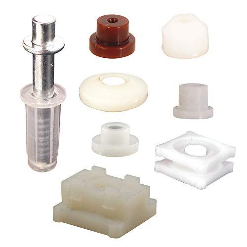 Bi-fold Door Top Pivot and Cap Repair Kit, Plastic Base Fits 3/8 in. Diameter, 7 Pairs Cap Assortment, Spring-Loaded, 1 Kit