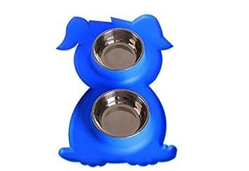 Maycong Dispensador de Agua Cat Dog Forma de Perro Silicona Doble Tazón de Acero Inoxidable (