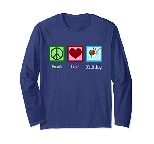 Unisex Peace Love Knitting Long Sleeve T-Shirt 2XL Navy (Peace Love Knitting)
