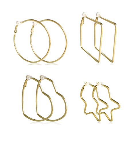 Clip On Earrings for Women Gold Hoop Earrings for Non-Pierced Ear Star Heart Hoops