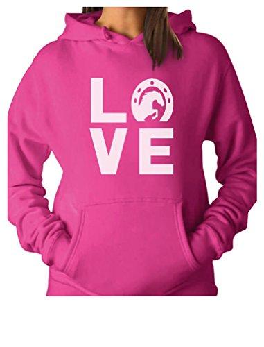 TeeStars - Love Horses - Animal Lover Rearing Horse - Horseshoe Women Hoodie Medium Pink