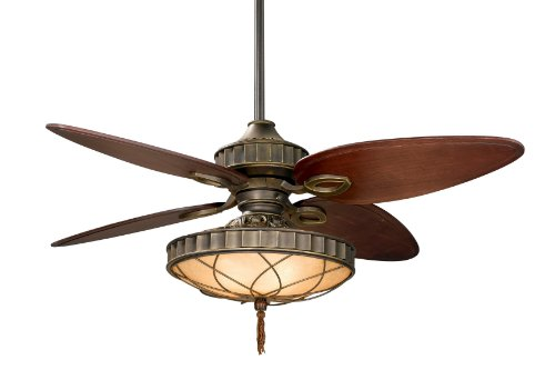 Fanimation LB270VZ-220 Bayhill 4-Blade Ceiling Fan with 220-Volt Filigree Bowl Light Kit, 56-Inch, Venetian Bronze