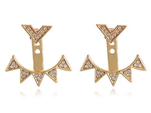 Eoumy Crystal Sun Ear Jacket Earrings Gold Triangle Geometric Arrow Ear Cuff Earrings for Women Girl