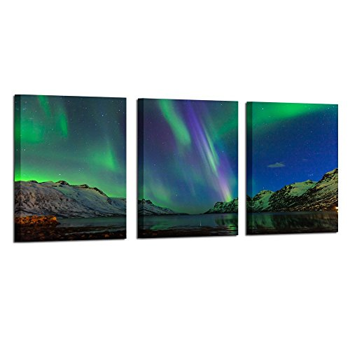 Kreative Arts - Green Modern Aurora Borealis Iceland Landscape Northern Light Canvas Prints Picture Painting Framed Ready to Hang 12x16inchx3pcs